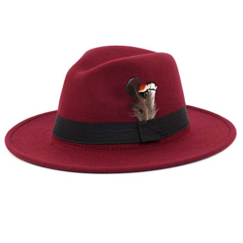 Classic Red Felt Hat - Men Fedora Hat with Feather Unisex Classic Manhattan Indiana Jones Hats Wine Red