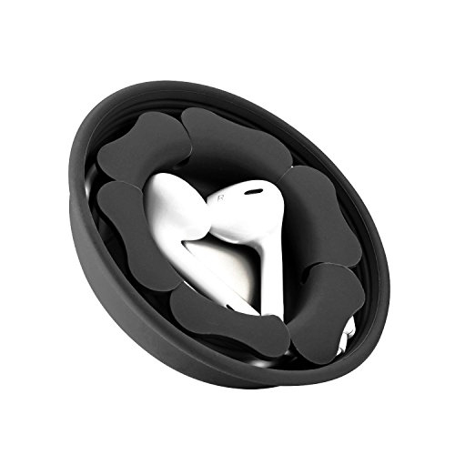 Earbud Holder Case Storage Cord Organizer, MAIRUI Portable Tangle Free Silicone Magnetic Earphone Cable Winder Wire Wrap Keeper Carrying Managment Accessories (Carbon Black)
