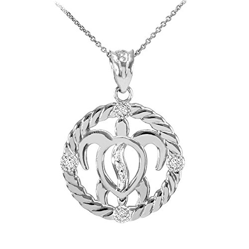 10k White Gold Diamond-Accented Lucky Hawaiian Honu Turtle Pendant Necklace, 18