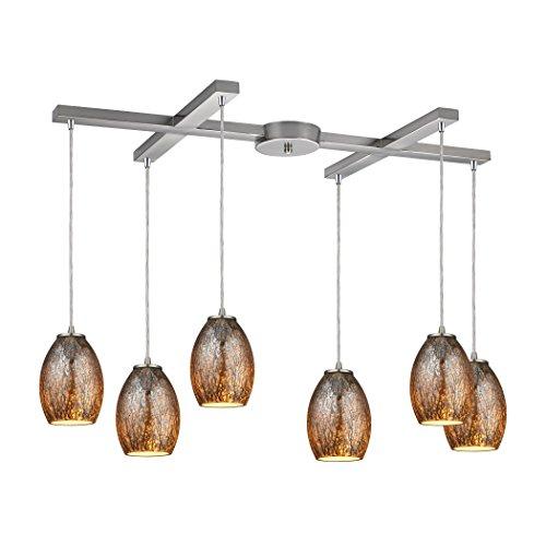 Elk Elliptical (Elk Lighting Venture 6 Light Pendant in Satin Nickel)
