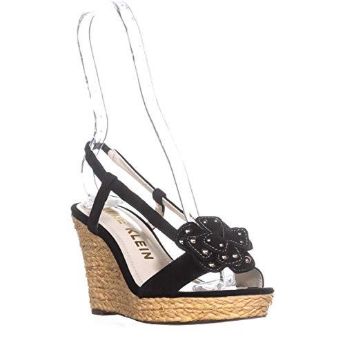 Anne Klein Women's Marigold Suede Espadrille Wedge Sandal, Black, 6.5 M US