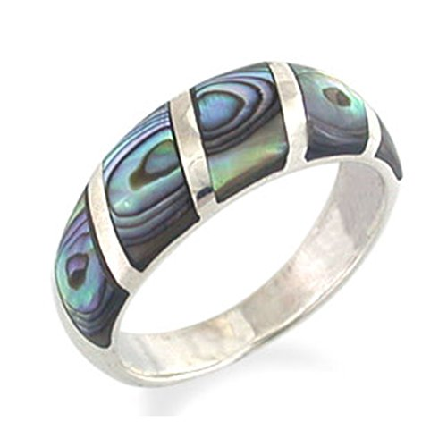 Used, 5-Stone Abalone/Paua Shell Inlay White Gold Plated for sale  Delivered anywhere in USA