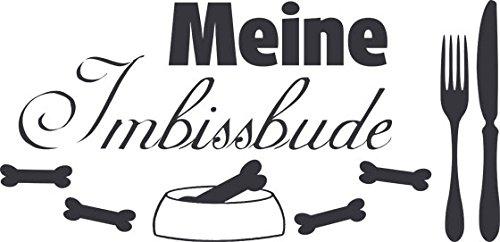 Wandtattoo Tiere Sprüche Hund Katze Flur Spruch Meine Imbissbude Messer Gabel (103x50cm//073 dunkelgrau)