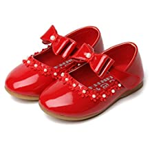 Bumud Little Girl's Adorables Mary Jane Front Bow Ballerina Flat Shoes