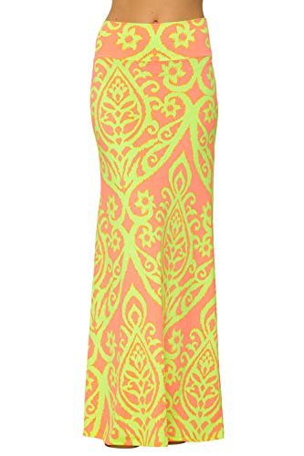 Junky Closet Women's Print Foldover High Waisted Floor Length Maxi Skirt (Small, 222 Damask Neon Lime Orage) ()