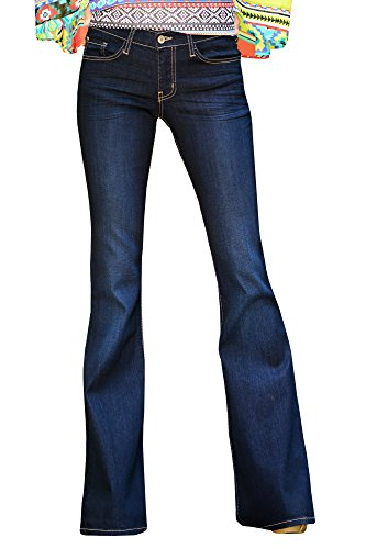 Ermonn Women's Office Lady Straight Wide Leg Bell-bottom Jeans Denim Pants
