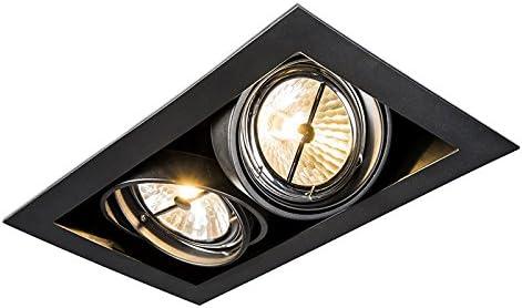 QAZQA Diseño Foco empotrado rectangular negro ONEON 111 2 Acero Rectangular Adecuado para LED Max. 2 x 50 Watt