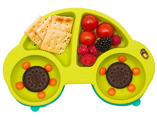 Qshare Toddler Plates, Portable Baby Plates for Toddlers, BPA-Free FDA Approved Strong Suction Plates for Toddlers, Dishwasher and Microwave Safe Silicone Placemat 11x8x1 (CarGreen)