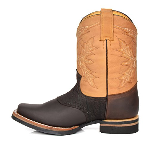 Cowboy Block 11FR Brown Of Leather Hi Square House Heel Leather Toe Shoes on Slip Western Boots RPZntnTO