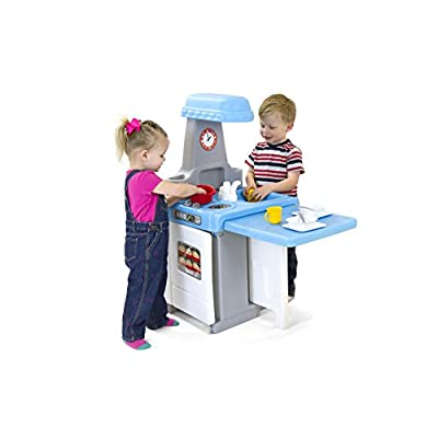 Simplay3 Kids Play Around Kitchen and Activity Table w/ 18 Piece Cooking and Dining Play Set with pots, Pans, and Utensils: Toys & Games