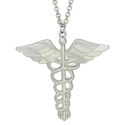 TTKP Caduceus Angle Doctor Nurse Medical Symbol Jewelry Snake Wings Necklace (Caduceus Jewelry Pendant)