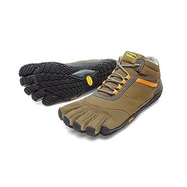 Vibram FiveFingers Men's Trek Ascent Insulated Barefoot Shoes Khaki / Orange 41 and Premium Toesock Bundle