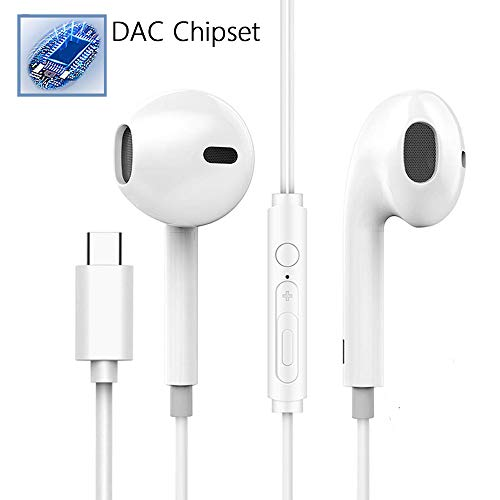 USB C Digital Headphones,Anskp Type C Wired in-Ear HiFi Stereo Earphones with Mic,DAC Chipset Noise Cancelling Earbuds Gym Sports Headsets Compatible with Google Pixel 3/2/XL, iPad Pro,Huawei(White)