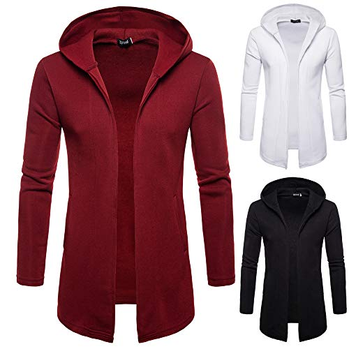 Solid Red Blouse Sleeve Trench Fashion Long Jacket Hooded Outwear TEBAISE Wine Coat Cotton Mens Blend Cardigan 4XZwRBq