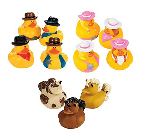 Cowboy Rubber Duck - 18 Pack Cowboy Cowgirl Horses Rubber Duck Western Theme Party Decorations Favors