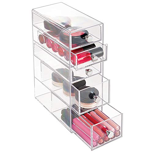 iDesign Clarity Plastic Cosmetic 5-Drawer, Jewelry Countertop Organization for Vanity, Bathroom, Bedroom, Desk, Office, 3.5