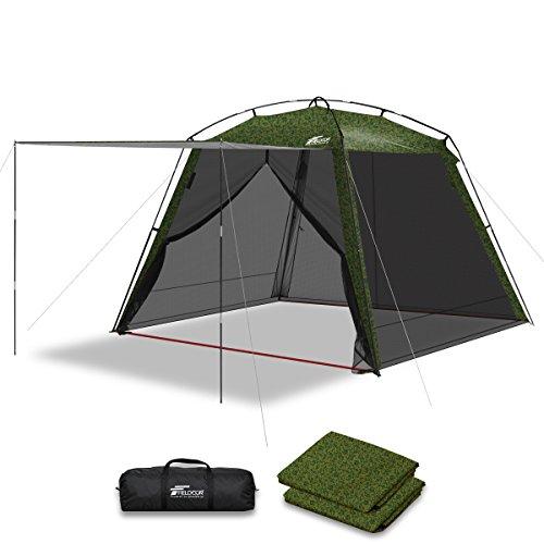 フォルダ素晴らしい良い多くの財政FIELDOOR スクリーンテント 3m メッシュスクリーン シェード 虫除け 蚊帳 キャンプ バーベキュー