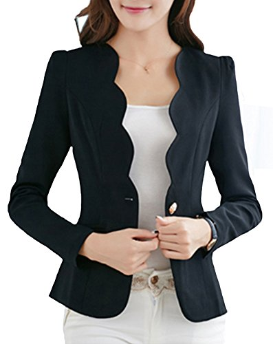Single Collar Button Blazer (SiYuan Womens Casual Slim Fit Jacket Single Button Wave Collar Business Blazer US2/Tag M Black KK1002)
