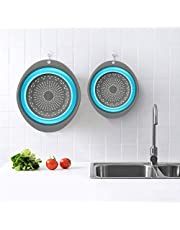 Colander Set - 2 Collapsible Colanders Set, Learja Food-Grade Silicone Kitchen Strainer Space-Saver Folding Strainer Colander, Sizes 8 inches - 2 Quart, and 9.5 inches - 3 Quart. (Blue and Gray)