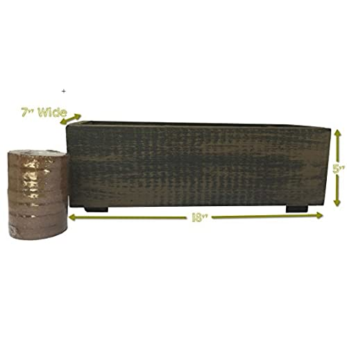 Rectangular Cedar Wood Planter Flower Pot / Decorative Garden Container  With Soil Included (Wicker Brown)