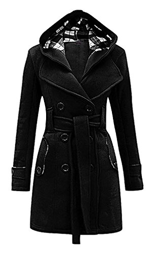 Maze, Women's Double Breasted Notch Collar Warm Belted Plaid Hood Trench Coat, Black S ,Manufacturer(M) ()