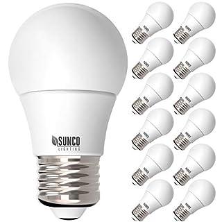 Sunco Lighting 12 Pack A15 LED Bulb, 8W=60W, 3000K Warm White, Dimmable, 800 LM, E26 Base, Refrigerator & Fan Light - UL, Energy Star