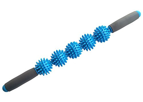 ge Stick, Muscle Trigger Point Therapy, Relieve Muscles Pains Massage Roller Stick, Self Massage Bar, Yoga Massager, Ergonomic Padded Grip 5 Spiky Balls Massage Tool (Sky Blue) ()
