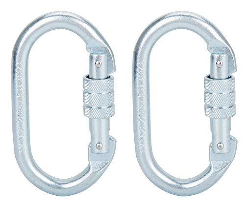Faswin 2 Pack O-Shaped Rocklock Climbing Carabiner - Screwgate Carabiner For Climbing Hiking Yoga Hammock and Exploring Rappelling (25KN=5600 lb) by Faswin