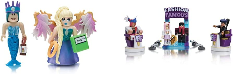 Roblox Celebrity Collection - Neverland Lagoon: Crown Collector + Royale High School: Enchantress Two Figure Bundle & Celebrity Collection - Fashion Famous Playset [Includes Exclusive Virtual Item]