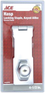 4-1/2'' CHROME PLATED LOCKING STAPLE KEYED ALIKE HASP ACE Chrome Steel 5392915