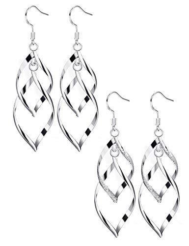 - Finrezio 2 Pairs Drop Dangle Earrings for Women Jewelry Double Linear Loops Design Twist Wave Earrings Set