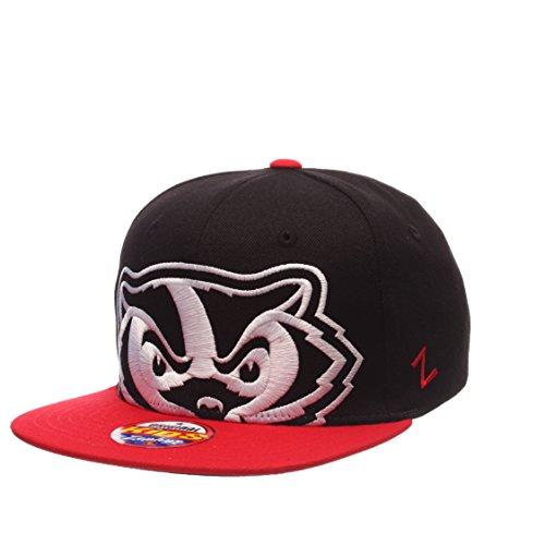 Zephyr NCAA Wisconsin Badgers Youth Boys Peek Snapback Hat, Black/Scarlet, Adjustable