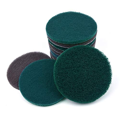 5 Inch Round Hook and Loop Scouring Pad Industrial Heavy Duty Nylon Cleaning Cloth, 4-pieces Each of 240, 800, 1500 Grits