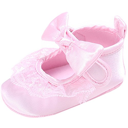 FireFrog Baby Girls High Top Lace Ruffle Bowknot Mary Jane Prewalker Shoes Pink 0-6 Months - Baby High Top Shoes Pink