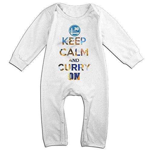 [KIDDOS Baby Infant Romper Keep Calm And Curry On Long Sleeve Jumpsuit Costume,White 6 M] (Einstein Baby Costume)