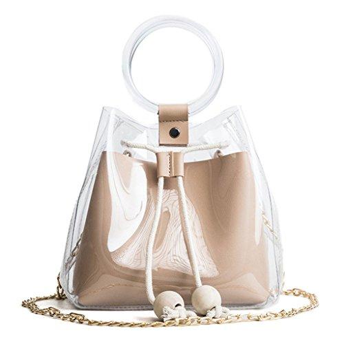 Tandou Les sacs à main de sac à main de plage de PVC transparent de sac à bandoulière de chaîne de sac à main de femmes Kaki