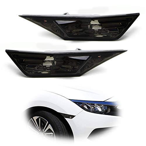 iJDMTOY JDM Smoked Lens Front Side Marker Light Lens Housings For 2016-up Honda Civic Sedan/Coupe/Hatchback, Replace OEM Amber Sidemarker Lamps
