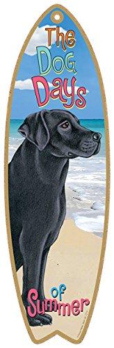 SJT ENTERPRISES, INC. Black Lab Dog Surfboard Plaque Sign - Measures 5