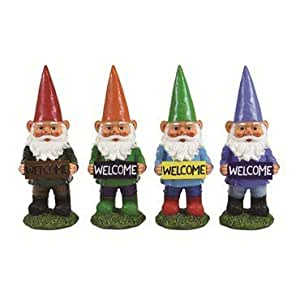 Exhart 60024-GR 13 in. Multi-color Gnomes with Welcome Sign - Green