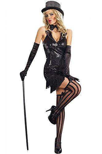 Dreamgirl Cabaret Doll, Black, Extra (Black Cabaret Costume)