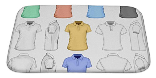 Gear New Bath Mat For Bathroom, Memory Foam Non Slip, Mens Short Sleeved Poloshirt Illustration Different Variants Detailed Simple, 34x21, 4979905GN