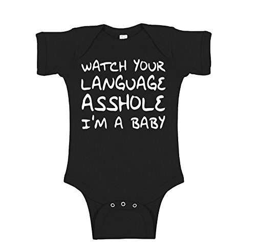 Funny Onesie - Watch Your Language Asshole Im a Baby Novelty Infant Baby Unisex Bodysuit - Black - 0-3 Months