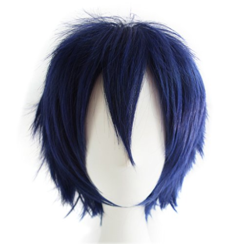 Alacos Fashion Dark Blue Short Straight Layered Unisex Cosplay Wig Anime Wig Layered Hair + Wig Cap