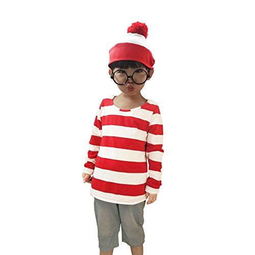 [Dreamowl Kids Waldo Costume Shirt Glass Hat Set (M/Fit 120-130CM)] (Wheres Wally Fancy Dress Kids)