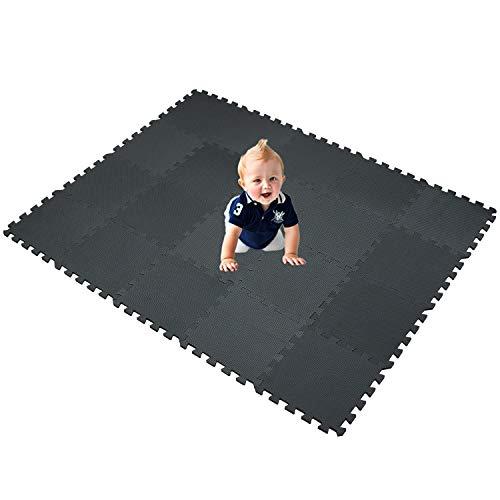 Grey with white 3510HUI meiqicool Foam Floor Tiles Foam Play Mat Large Baby Play Mat Jigsaw Puzzle Mat Big Foam Play Mat Thickened Soft Non Toxic 32 Pcs 139 x 139 x 1cm