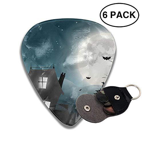 morjar Classic Guitar Pick (6 Packs) Halloween House and Moon Bat Celluloid Guitar Picks Plectrums for Guitar -