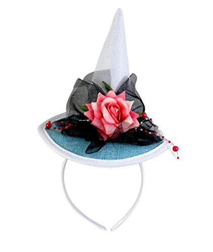 White Witch Hat Headband with Flowers and Beading Halloween Accessory, 7 Inch -