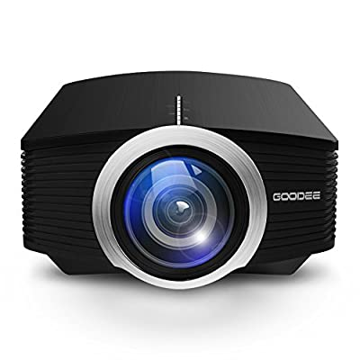GooDee Mini Portable Projector 1600 Luminous Efficiency Home Cinema Theater Movie Video Projector Support Multimedia HDMI USB for Home Entertainment Games