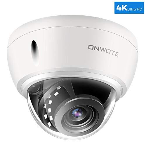 ONWOTE UltraHD 4K 8MP IP PoE Security Camera Outdoor Dome, 3840×2160 8-Megapixel, 131ft NightVision, Wide View Angle, IP66 Weatherproof, Vandalproof, Onvif