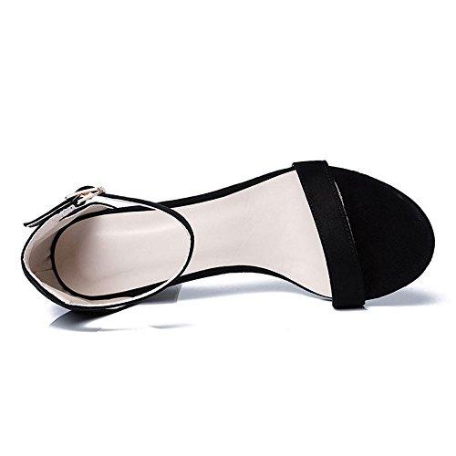 Zanpa Toe Strap Heels Black Block Sandals Fashion Open Women xUpqgwPZx